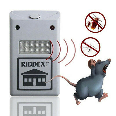 Electronic Ultrasonic Pest Control Repeller Spiders Rats regulations White