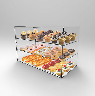 Bakery Display 3 Shelf Sliding Door -Arcylic Perspex- Donuts,Cakes,Muffins,Cafes
