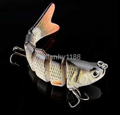 HOT 3D Eyes Lifelike Fishing Lure With Treble Hooks 6 Jointed Sections Swimbait