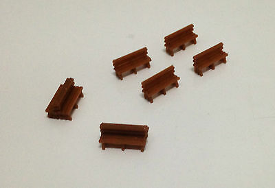 Outland Models Railway Classic Wood Style Bench x8 for Park / Station HO Scale
