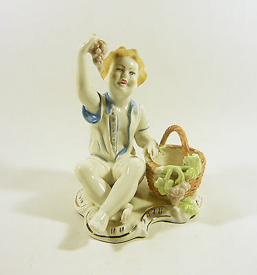 "Children Taking Grapes From Basket 5.7"",handpainted Porcelain Figurine !"