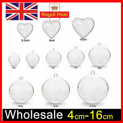 1-100PCS Clear Plastic Craft Ball Sphere For Christmas baubles Wedding Favours