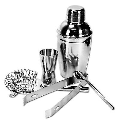 Stainless Steel Cocktail Shaker Bar Pub 5 Pcs Kit