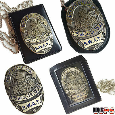 SWAT LAPD Badge Holder Chain S.W.A.T. COSPLAY Los Angeles Police Department A+++