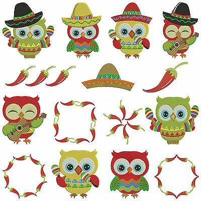 * CINCO DE MAYO OWLS * Machine Embroidery Patterns * 15 Designs, 3 Sizes