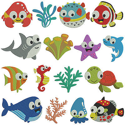 SEA ANIMALS * Machine Embroidery Patterns * 16 designs in 2 sizes
