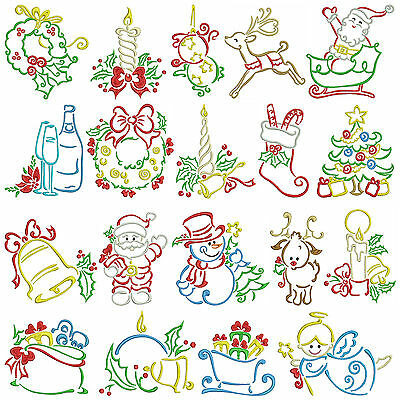 SATIN CHRISTMAS * Machine Embroidery Patterns * 19 Designs, 2 Sizes