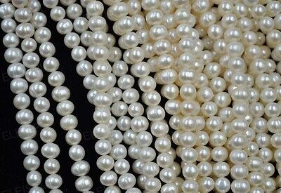 wholesale 5-6mm white real freshwater cultured pearl loose strings