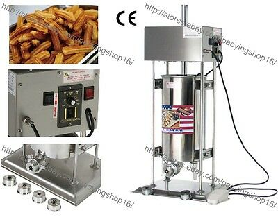 Heavy Duty Automatic Electric 15L Churrera Churros Machine Maker w/ 5 Nozzles