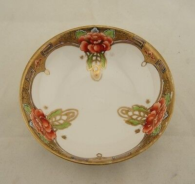 Antique Japanese signed Nippon hand painted Peony Art Nouveau bowl
