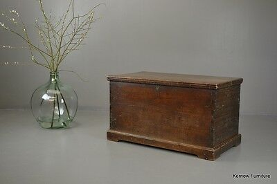 Antique 19th Century Solid Teak Trunk Blanket Box