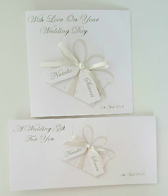 Pretty Personalised Wedding Day / Engagement Card & Gift Money Wallet ANY COLOUR