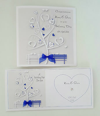 Personalised Wedding Day Card Matching Gift Money Wallet Royal Blue ANY COLOUR