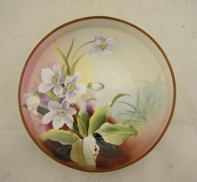 Antique Japanese signed Nippon hand painted floral shallow bowl