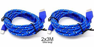 2x 3m langes Nylon Ladekabel Playstation 4 PS4 Xbox One Controller Micro USB