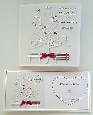 Personalised Wedding Day Card Matching Gift Money Wallet Burgundy ANY COLOUR