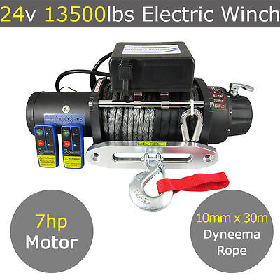 24V 13500Lb Electric Winch 10Mm X 30M Dyneema Synthetic Rope 4Wd 13000Lb 12000Lb