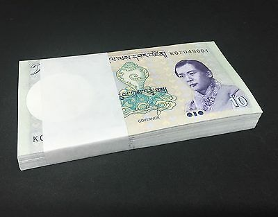 BHUTAN 10 Ngultrum X 100 PCS, Bundle, 2013, P-29, UNC