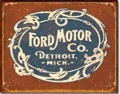 "Ford Historic Logo Metal Tin Sign 16"" X 12.5"" Detroit Vintage  Wall Decor"