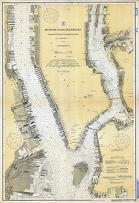 1919 Nautical Chart Map of the Hudson and East Rivers New York Long Island