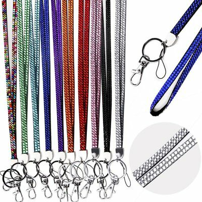 Neck Crystal Rhinestone Lanyard Bling ID Card Badge Keyring Key Phone Holder P6