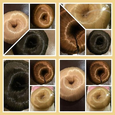 Bun Shaper Donut Hair Covered bun Ring, blonde browns black blends with hair #1