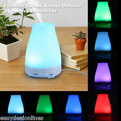 100ML LED 7 Colors Aroma Diffuser Ultrasonic Air Humidifier Dust Purifier White