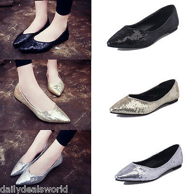 New Womens Ladies Flat Glitter Bridal Bridesmaid Prom Dolly Pumps Ballet Shoes