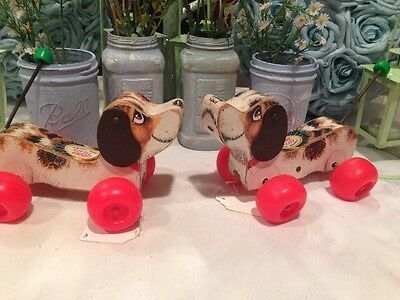 Lot Of 2 Fisher Price Wooden Little Snoopy # 693 Dog Pull Toy