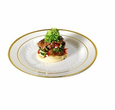 "120 9"" Dinner Plates Masterpiece Style Bone-Gold Rim Disposable Plastic"