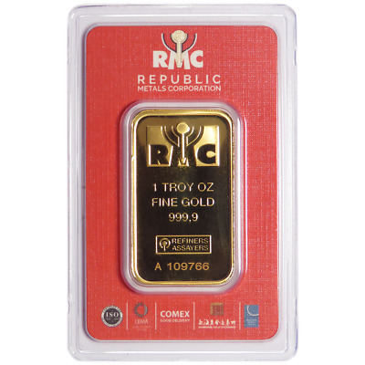 1 Troy oz Republic Metals Gold Bar .9999 Fine