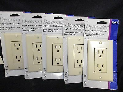 Eagle Electric C1507V Decora Duplex Grounding Receptacle Ivory 15A  (Lot of 5)