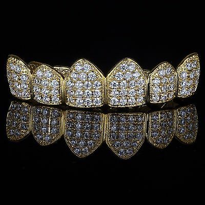 18K Gold Plated High Quality CZ Top GRILLZ Mouth Teeth Grills