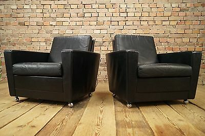 60s VINTAGE 2x LEATHER ARMCHAIRS ARMCHAIR EASY CHAIR DANISH CHAIRS FAUTEUIL