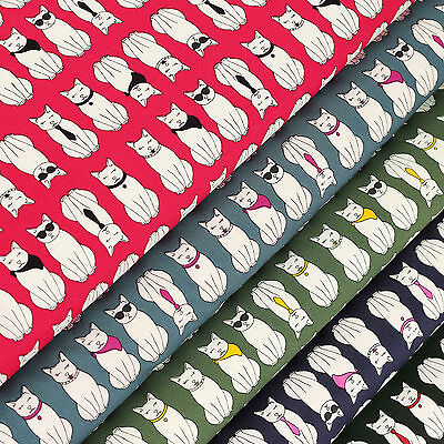 Cotton Fabric per FQ Mr. & Mrs. Cat Sunglasses Necklace Necktie Kitty Print VS12