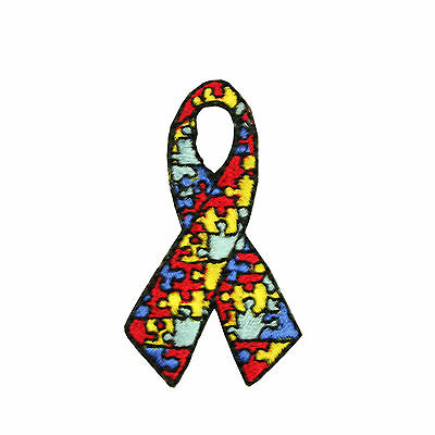 """2"""" X1.25"""" Autism Awareness Ribbon Self-Adhesive Patch Jigsaw Puzzle Iron On"""