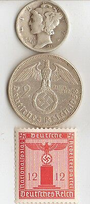 -3 -  SILVER  *WW2 - *US  and  *german  coins / stamps+..