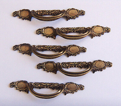 5 Vintage/Antique Ornate Solid Brass Dresser Cabinet Drawer HANDLE PULLS - SPAIN