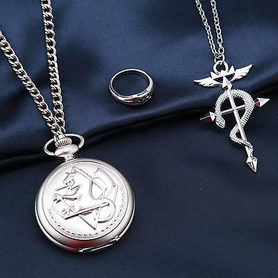 New Fullmetal Alchemist Pocket Watch Necklace Ring Edward Elric Anime Cosplay