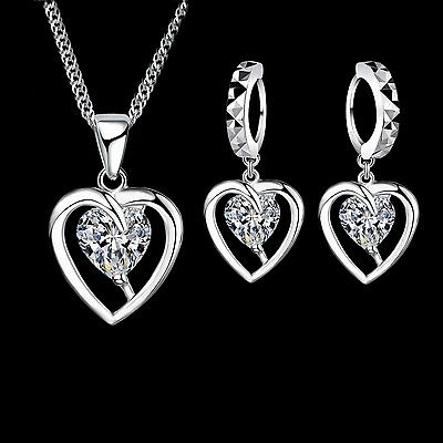 925 Silver Heart Cubic Zirconia Jewellery Set. Necklace and Drop Earrings