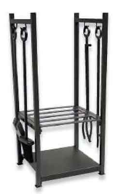 UniFlame Black Wrought Iron Log Rack with Tools