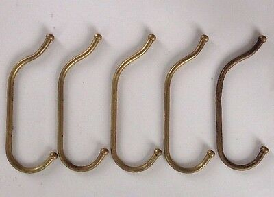 oversize VINTAGE 5 matching HOOKS brass WALL or BACK of DOOR parts FURNITURE old