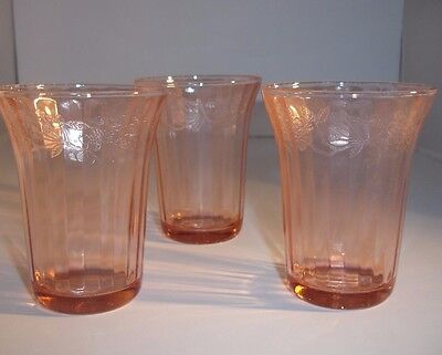 "Jeanette Pink Depression Glass Cherry Blossom 4-1/4"" Juice Glasses Tumblers 3"