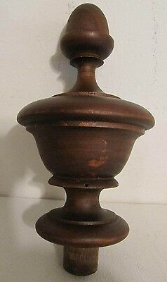 Antique French Wood Turned Acorn Top Finial