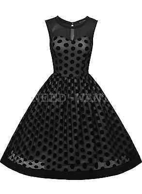 UK Womens Vintage 1950s Swing Polka Dot Evening Party Retro Rockabilly Dresses
