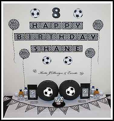 ** SOCCER Kids Adults Mens Ball Sports PERSONALISED Birthday Party Decorations**