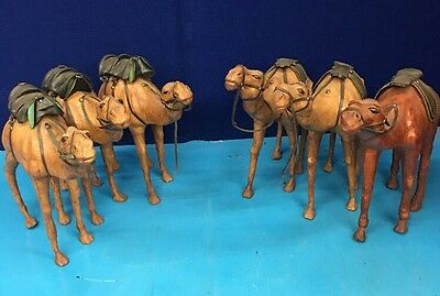 6 Count Lot Vintage Leather Wrapped Paper Mache Large Camel Figurines MAY6
