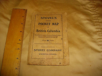 stovel's indexed  pocket map of british columbia  age ? pre 1950
