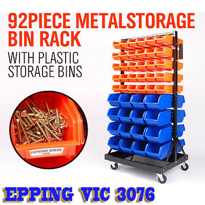 NEW 92 Piece Bin Storage Rack Nuts Bolts Organizer Stable Wheels Premium Quality