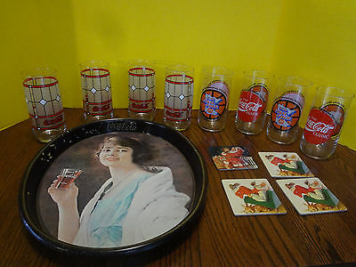 Vintage COCA COLA 8 Glass Set, Serving Tray and Coaster Set Lot of 13 ~FAST S/~